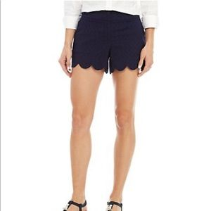 Crown & Ivy Navy Shelby Scalloped Shorts Sz 4
